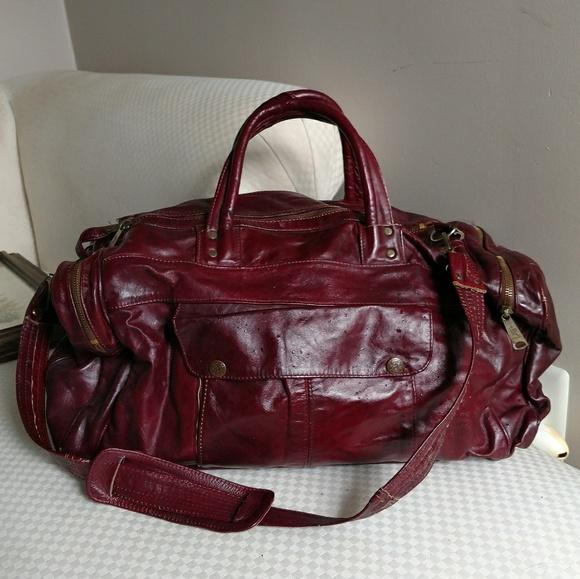 d307bb35c9b1 Vintage Large Red Leather Duffel Bag. M 5adfb71f84b5ce5bae6dc6cd